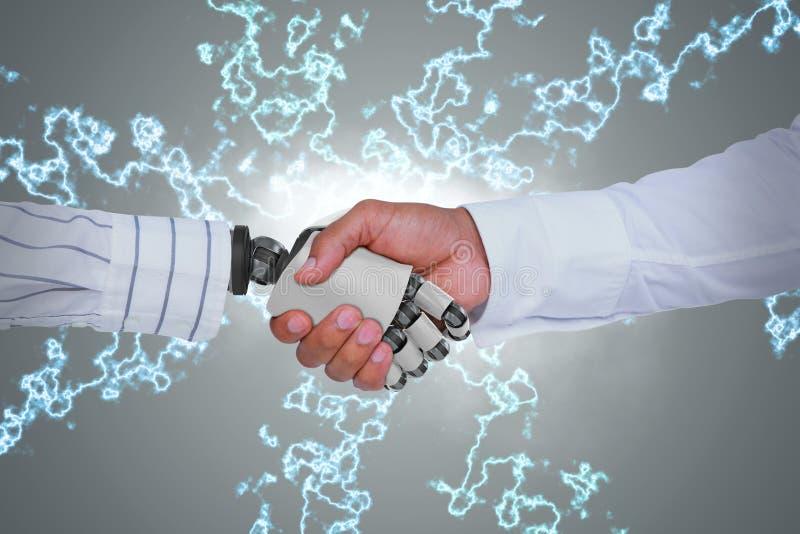 Σύνθετη εικόνα των χεριών τινάγματος επιχειρηματιών και ρομπότ στοκ φωτογραφία με δικαίωμα ελεύθερης χρήσης