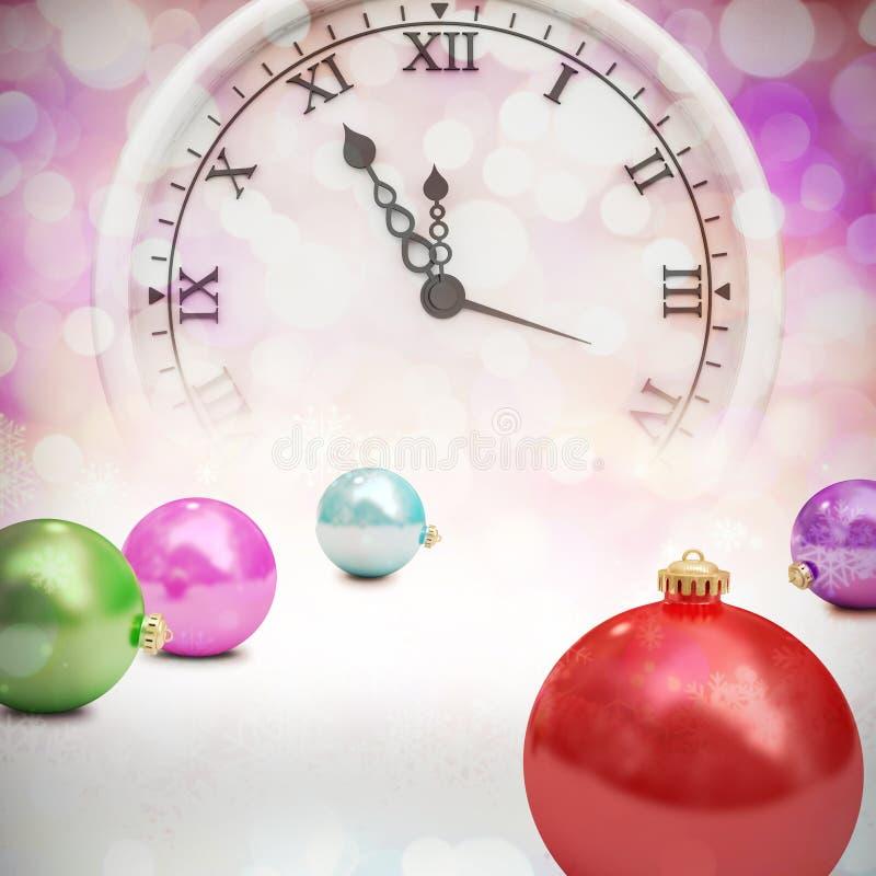 Σύνθετη εικόνα των ψηφιακά παραγμένων ζωηρόχρωμων μπιχλιμπιδιών Χριστουγέννων ελεύθερη απεικόνιση δικαιώματος