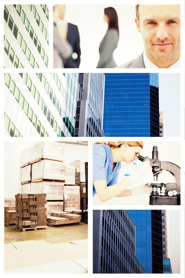 Σύνθετη εικόνα forklift σε μια μεγάλη αποθήκη εμπορευμάτων στοκ εικόνες
