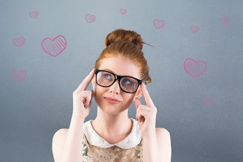 Σύνθετη εικόνα redhead να φανεί hipster επάνω σκεπτόμενος στοκ φωτογραφίες