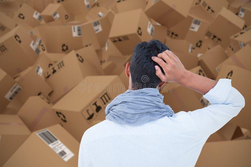 Σύνθετη τρισδιάστατη εικόνα οπισθοσκόπου ενός hipster με ένα χέρι στο κεφάλι διανυσματική απεικόνιση
