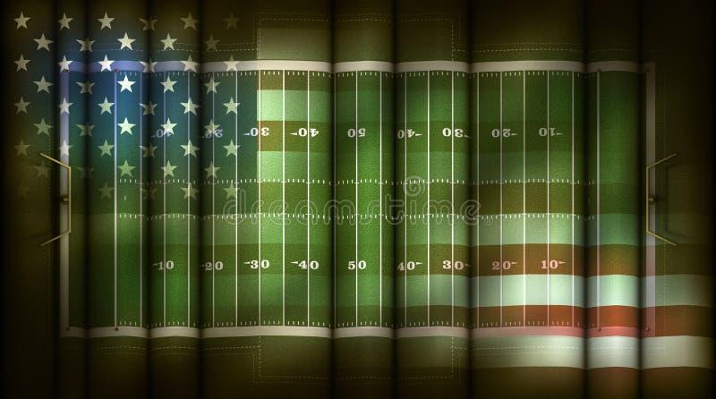 Σύνθετο †«τρισδιάστατη απεικόνιση τομέας αμερικανικού ποδοσφαίρου και το Ηνωμένες Πολιτείες σημαία διανυσματική απεικόνιση