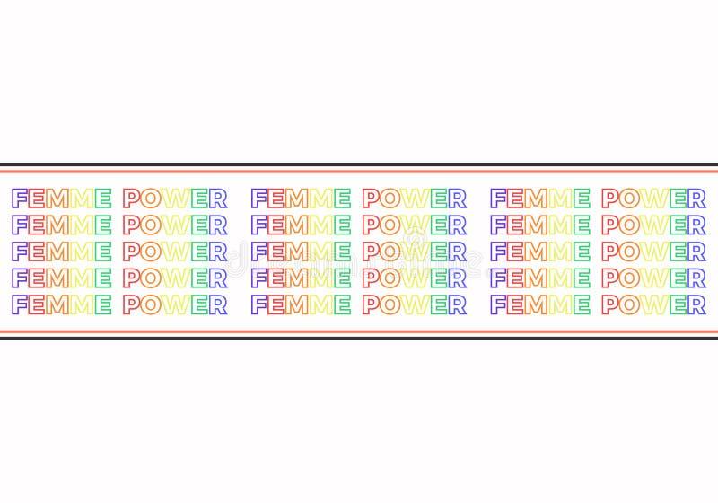 Σύνθημα δύναμης Femme, σύγχρονη γραφική παράσταση με το ζωηρόχρωμο κείμενο επανάληψης και οριζόντιες γραμμές Διανυσματικό σχέδιο  ελεύθερη απεικόνιση δικαιώματος