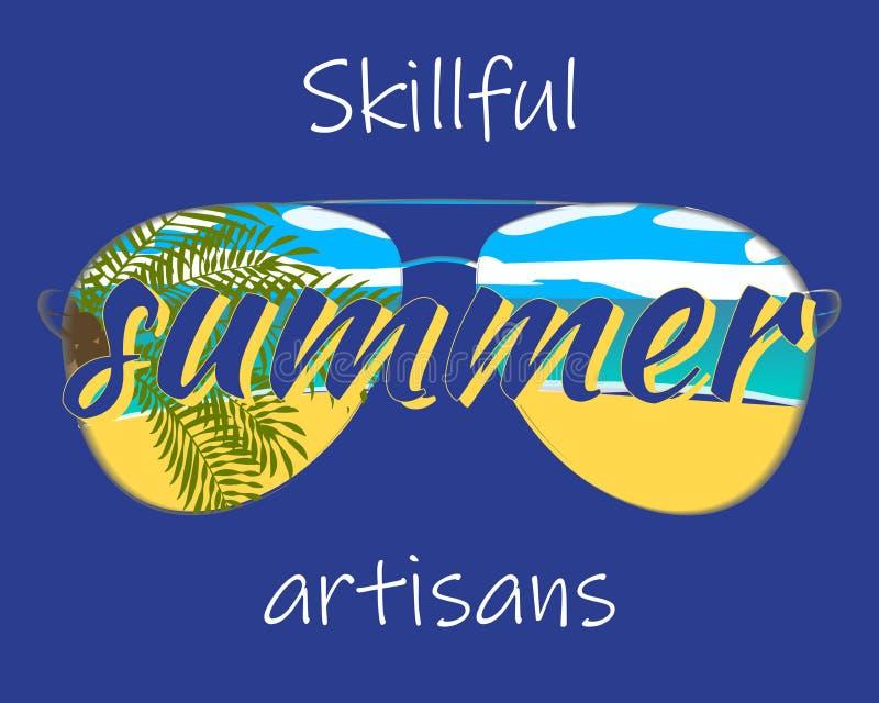 Σύνθημα θερινών artisans διακοπών με την αντανάκλαση γυαλιών ηλίου των φοινίκων και της απεικόνισης παραλιών ελεύθερη απεικόνιση δικαιώματος