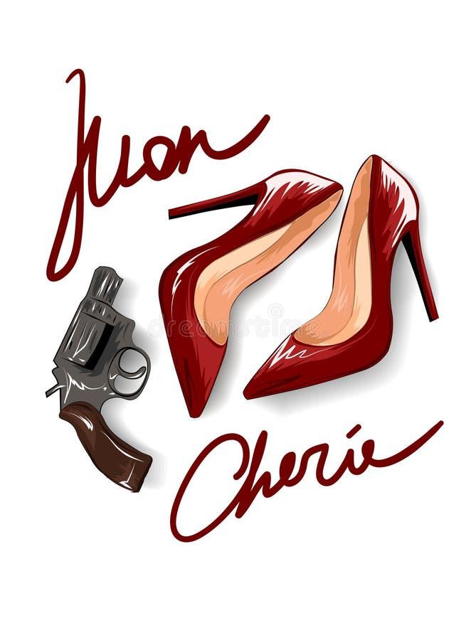 Σύνθημα Mon cherie με τα κόκκινα τακούνια και μια απεικόνιση πιστολιών διανυσματική απεικόνιση