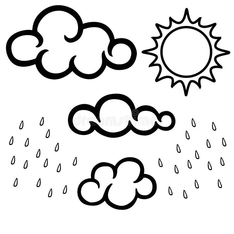 Σύννεφα, ήλιος και βροχή Γραπτό γραμμικό σύνολο Χρωματίζοντας βιβλίο για τα ενήλικα και παλαιότερα παιδιά ελεύθερη απεικόνιση δικαιώματος