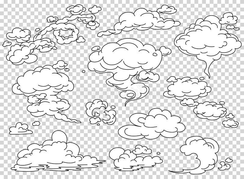 Σύννεφα ατμού κόμικς καθορισμένα Διανυσματική απεικόνιση καπνού κινούμενων σχεδίων άσπρη Η ομίχλη απομόνωσε οριζόντια clipart για απεικόνιση αποθεμάτων