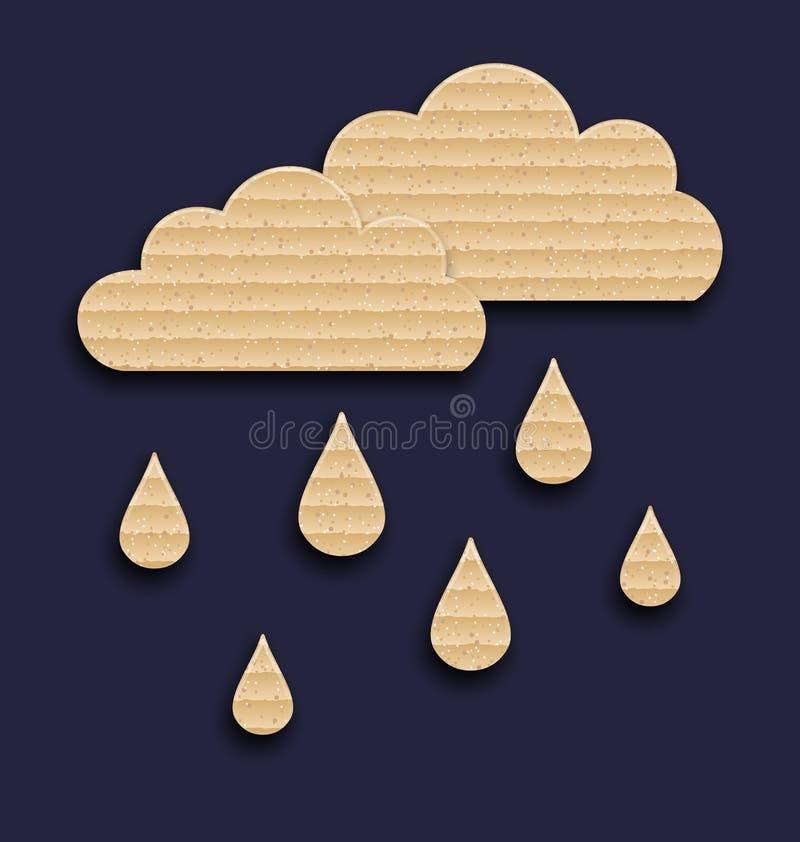 Σύννεφα εγγράφου με τις πτώσεις βροχής, σύσταση χαρτοκιβωτίων διανυσματική απεικόνιση