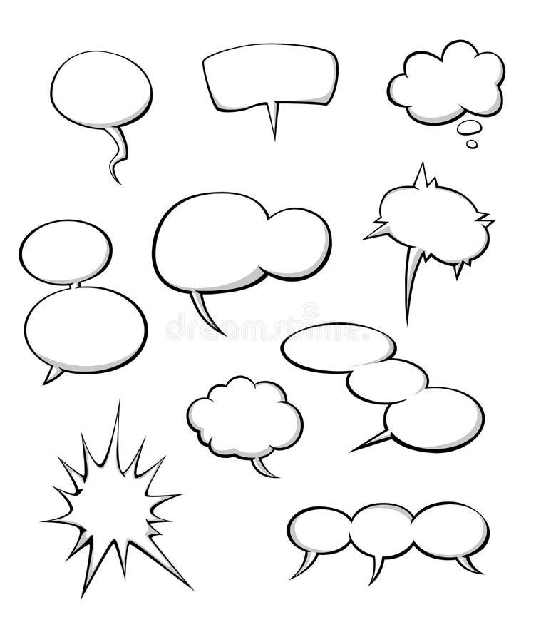Σύννεφα διαλόγου κινούμενων σχεδίων ελεύθερη απεικόνιση δικαιώματος