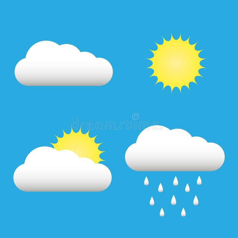 Σύννεφα και εικονίδια ήλιων καθορισμένα Σύννεφο, ήλιος, σύμβολα βροχής σύννεφων στο διάνυσμα μπλε ουρανού Συλλογή του σύννεφου, β ελεύθερη απεικόνιση δικαιώματος
