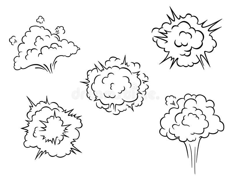 Σύννεφα και εκρήξεις κινούμενων σχεδίων απεικόνιση αποθεμάτων
