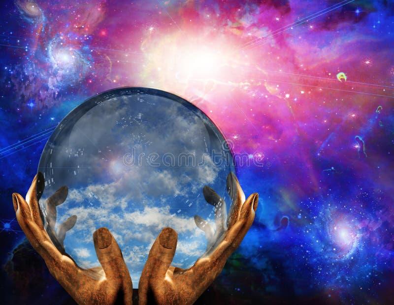 Σύννεφα στη σφαίρα κρυστάλλου διανυσματική απεικόνιση