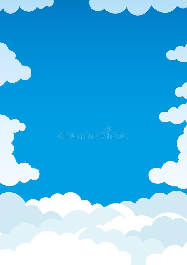 Σύννεφα στο μπλε ουρανό διανυσματική απεικόνιση