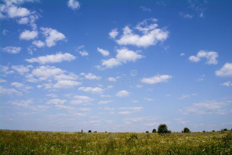 Σύννεφα στο μπλε ουρανό πέρα από τους αγροτικούς τομείς στοκ εικόνες