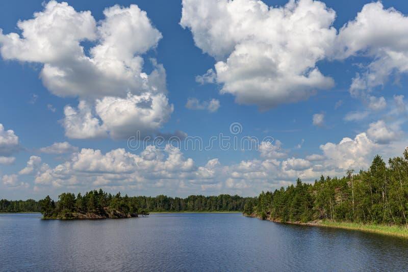 Σύννεφα σωρειτών πέρα από τη θερινή λίμνη στοκ εικόνες