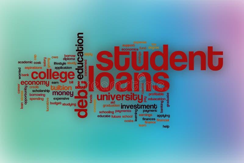 Σύννεφο λέξης δανείων σπουδαστών με το αφηρημένο υπόβαθρο στοκ εικόνες με δικαίωμα ελεύθερης χρήσης