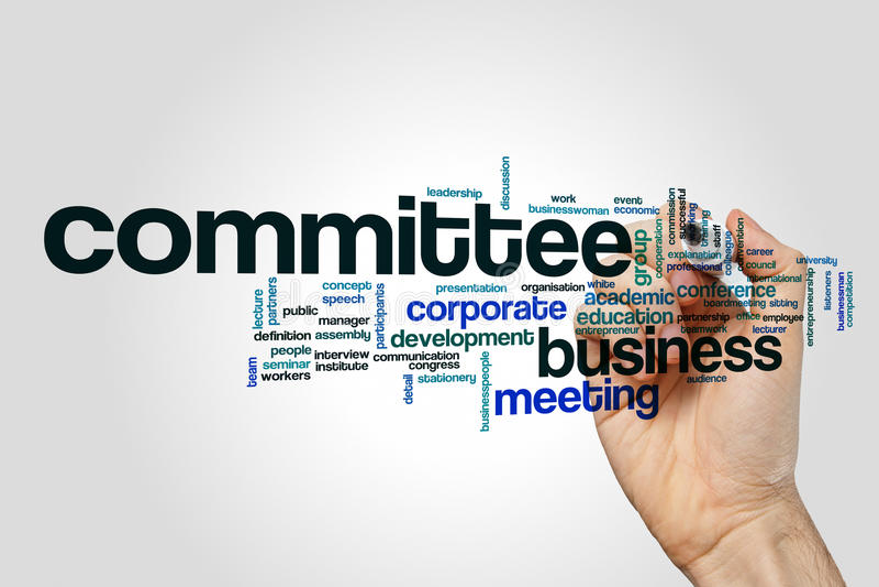 Σύννεφο λέξης Επιτροπής στο γκρίζο υπόβαθρο διανυσματική απεικόνιση