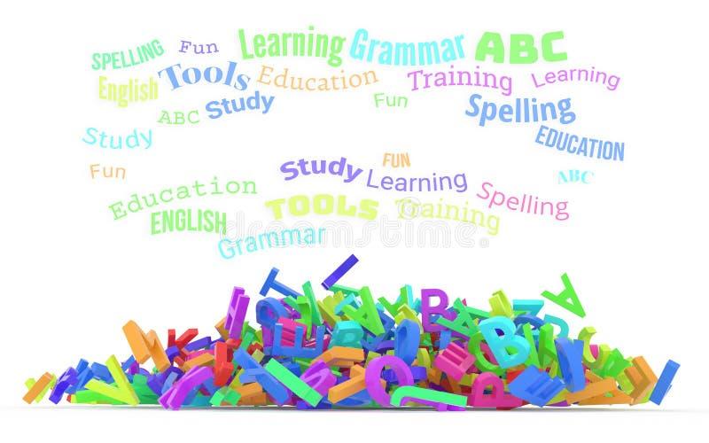 Σύννεφο λέξης παιδικών σταθμών, σωρός των αλφάβητων απεικόνιση αποθεμάτων