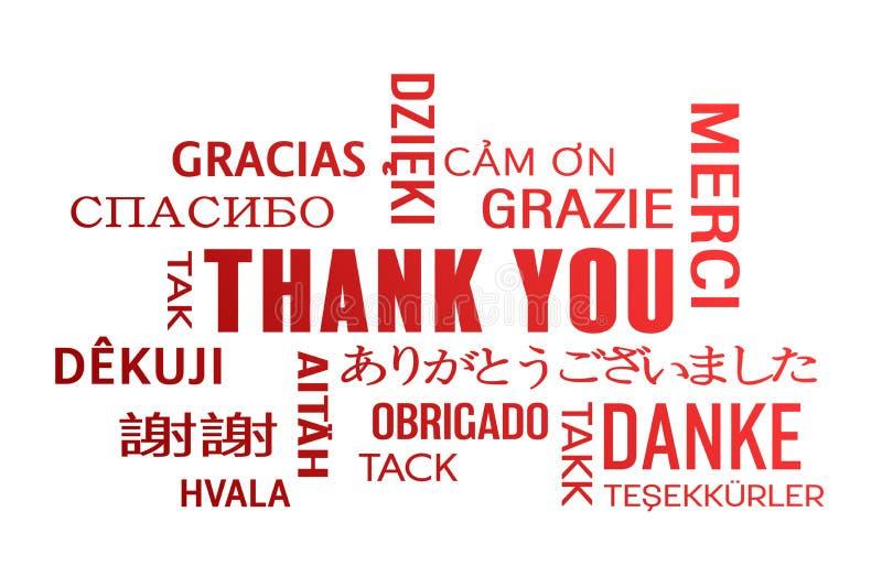 Σύννεφο λέξης - σας ευχαριστήστε - κόκκινο ελεύθερη απεικόνιση δικαιώματος
