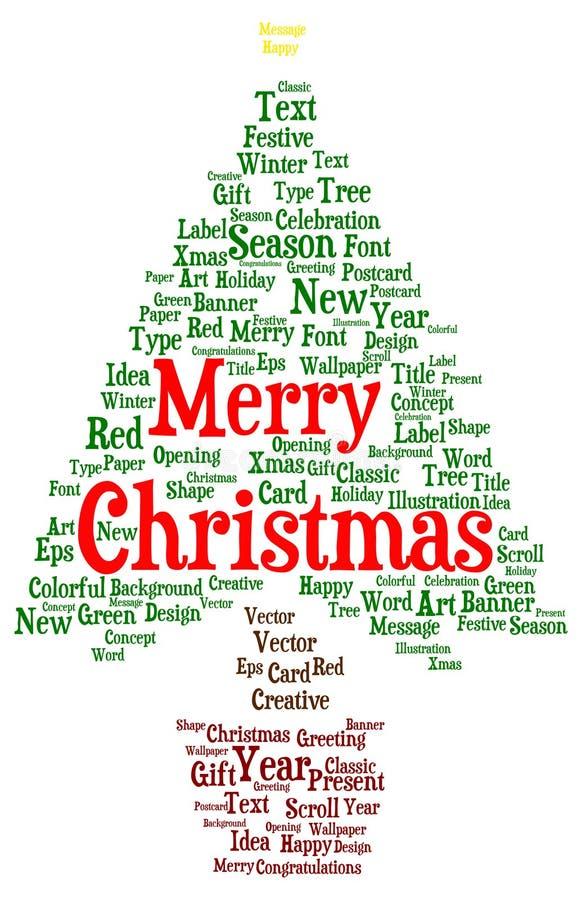 Σύννεφο λέξης Χαρούμενα Χριστούγεννας σε μια μορφή ενός χριστουγεννιάτικου δέντρου διανυσματική απεικόνιση