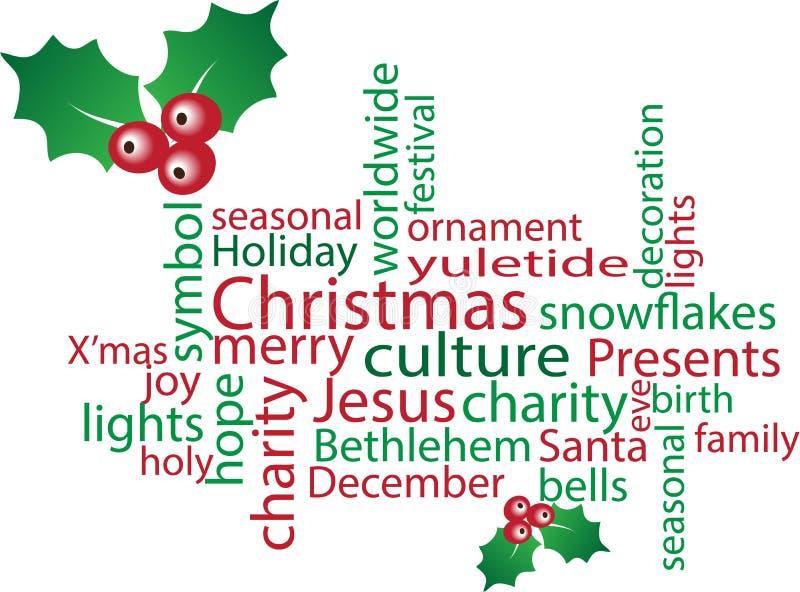 Σύννεφο λέξης Χριστουγέννων ελεύθερη απεικόνιση δικαιώματος