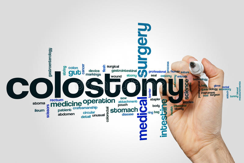 Σύννεφο λέξης Colostomy στοκ φωτογραφία