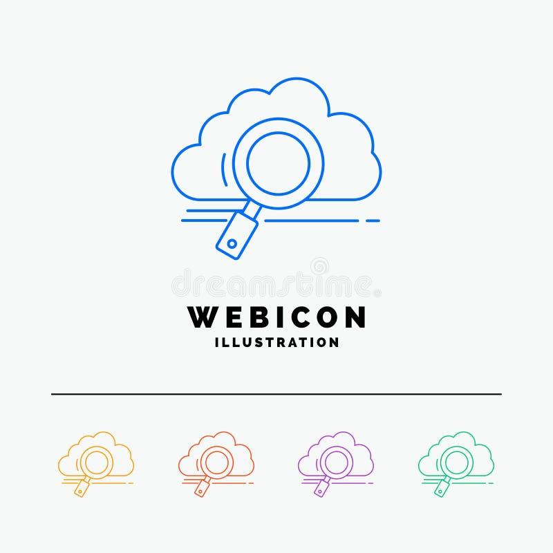 σύννεφο, αναζήτηση, αποθήκευση, τεχνολογία, πρότυπο εικονιδίων Ιστού γραμμών χρώματος 5 υπολογισμού που απομονώνεται στο λευκό r διανυσματική απεικόνιση