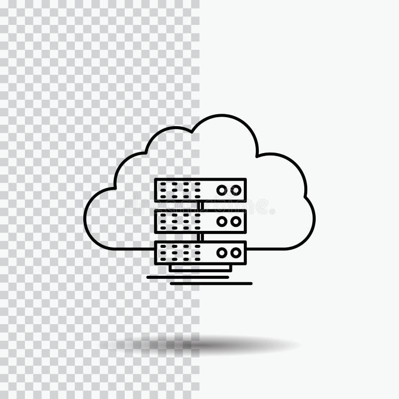 σύννεφο, αποθήκευση, υπολογισμός, στοιχεία, εικονίδιο γραμμών ροής στο διαφανές υπόβαθρο Μαύρη διανυσματική απεικόνιση εικονιδίων ελεύθερη απεικόνιση δικαιώματος