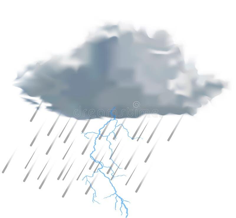 Σύννεφο βροχής με τις σταγόνες βροχής και την αστραπή διανυσματική απεικόνιση