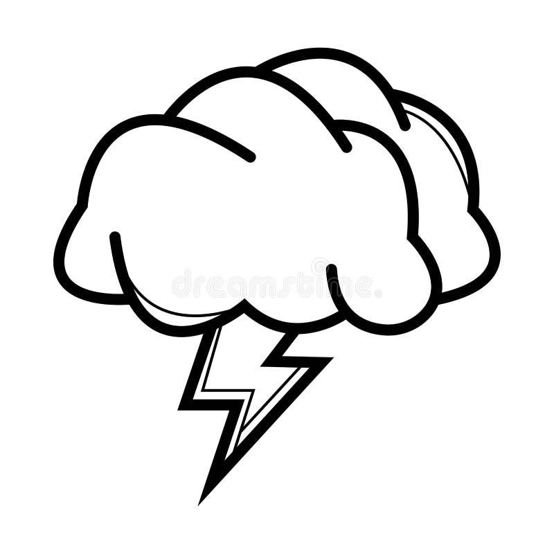 Σύννεφο εικονιδίων με την αστραπή απεικόνιση αποθεμάτων