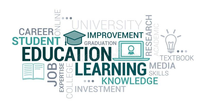 Σύννεφο εκπαίδευσης, πανεπιστημιακών και εκμάθησης ετικεττών διανυσματική απεικόνιση