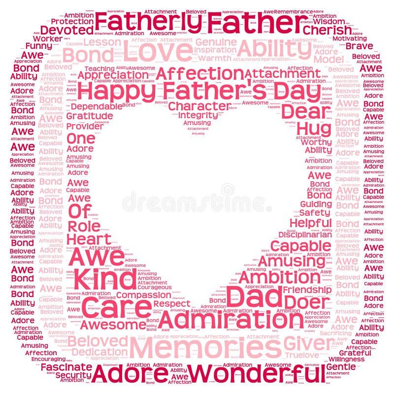 Σύννεφο ετικεττών της ημέρας του πατέρα στη μορφή καρδιών σε ένα κιβώτιο στοκ εικόνα με δικαίωμα ελεύθερης χρήσης
