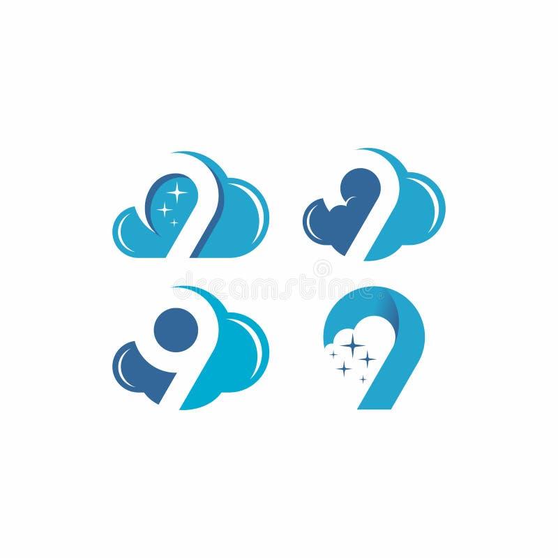 Σύννεφο 9 διανυσματικό λογότυπο διανυσματική απεικόνιση