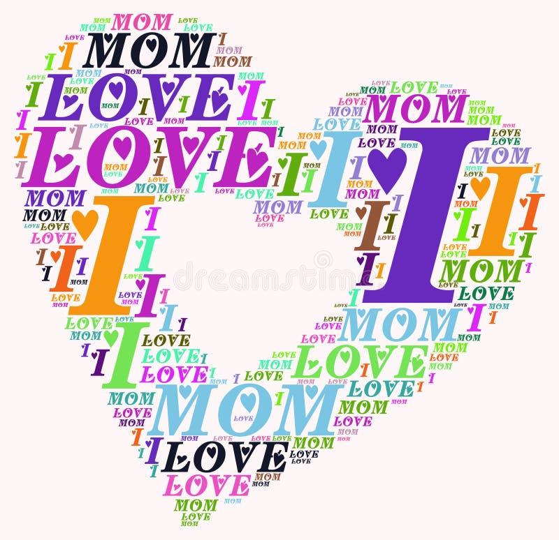 Σύννεφο Ι λέξης αγάπη mom στοκ εικόνα