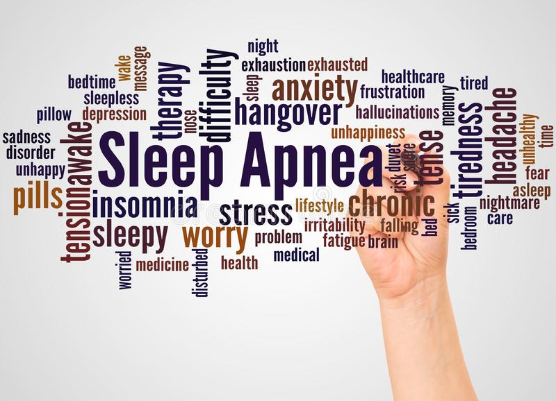 Σύννεφο και χέρι λέξης ασφυξίας ύπνου με την έννοια δεικτών διανυσματική απεικόνιση