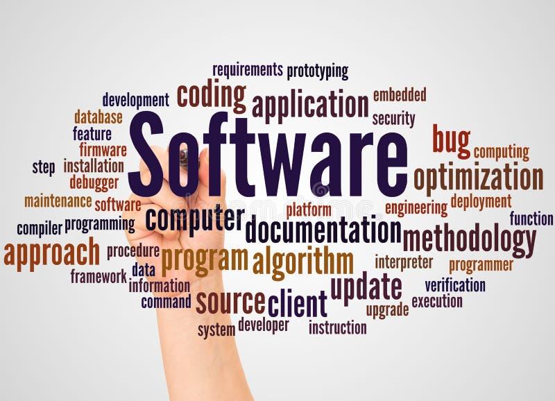 Σύννεφο και χέρι λέξης λογισμικού με την έννοια δεικτών διανυσματική απεικόνιση