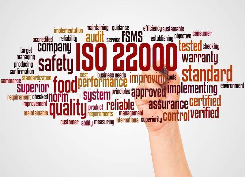 Σύννεφο και χέρι λέξης του ISO 22000 με την έννοια δεικτών απεικόνιση αποθεμάτων
