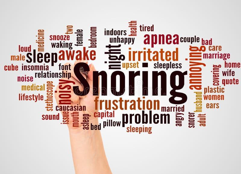 Σύννεφο και χέρι λέξης Snoring με την έννοια δεικτών ελεύθερη απεικόνιση δικαιώματος