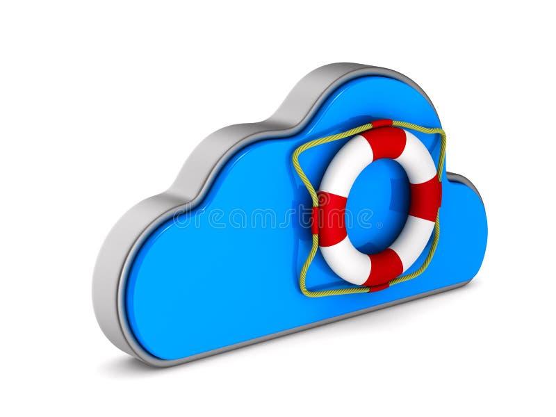 Σύννεφο και lifebuoy στο άσπρο υπόβαθρο Απομονωμένη τρισδιάστατη απεικόνιση ελεύθερη απεικόνιση δικαιώματος