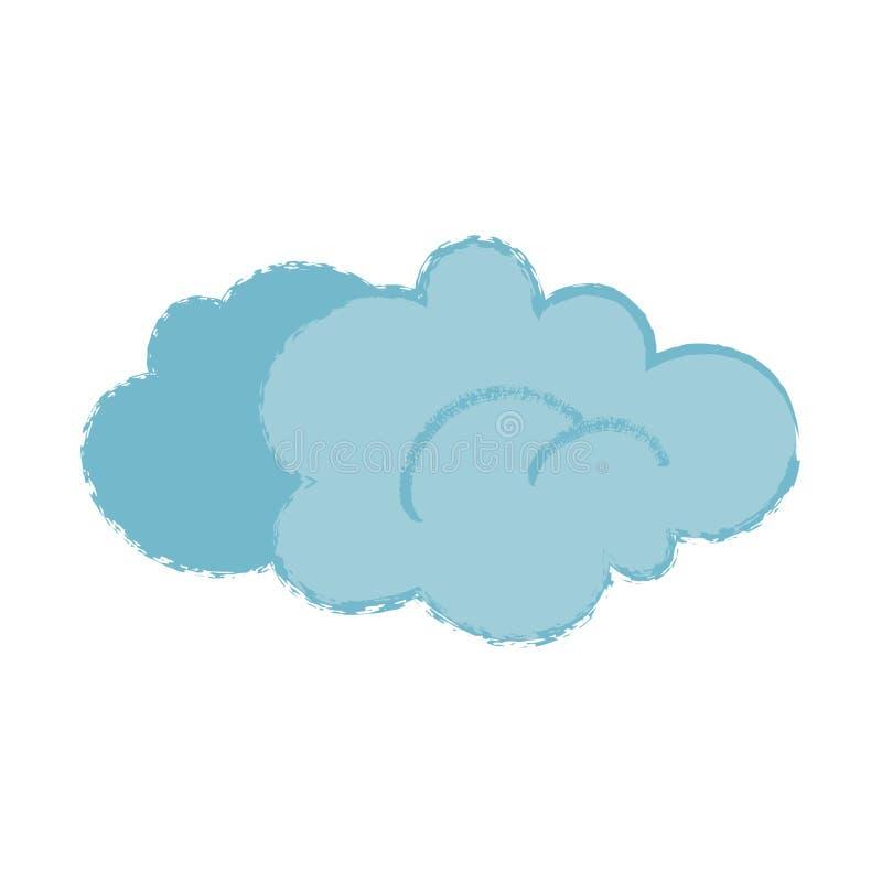 Σύννεφο κινούμενων σχεδίων με την καθιερώνουσα τη μόδα θορυβώδη σύσταση που απομονώνεται στην άσπρη διανυσματική απεικόνιση διανυσματική απεικόνιση