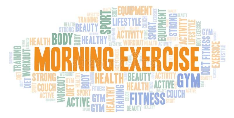 Σύννεφο λέξης άσκησης πρωινού απεικόνιση αποθεμάτων