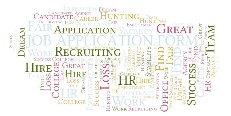 Σύννεφο λέξης αίτησης υποψηφιότητας εργασίας απεικόνιση αποθεμάτων