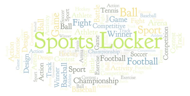 Σύννεφο λέξης αθλητικών ντουλαπιών απεικόνιση αποθεμάτων