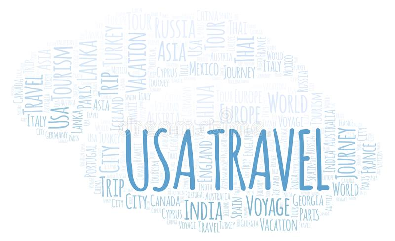 Σύννεφο λέξης αμερικανικού ταξιδιού ελεύθερη απεικόνιση δικαιώματος