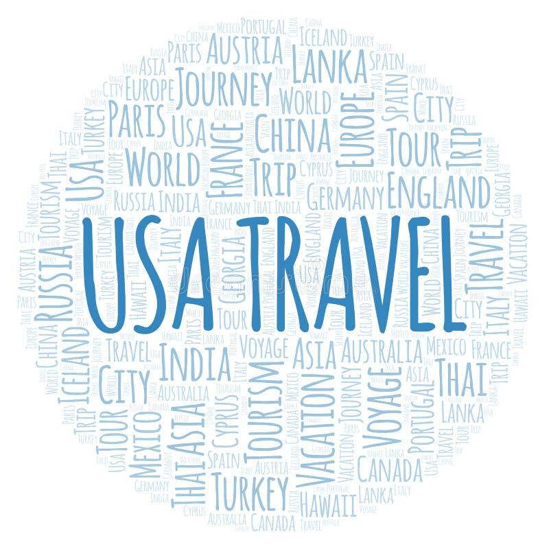Σύννεφο λέξης αμερικανικού ταξιδιού διανυσματική απεικόνιση