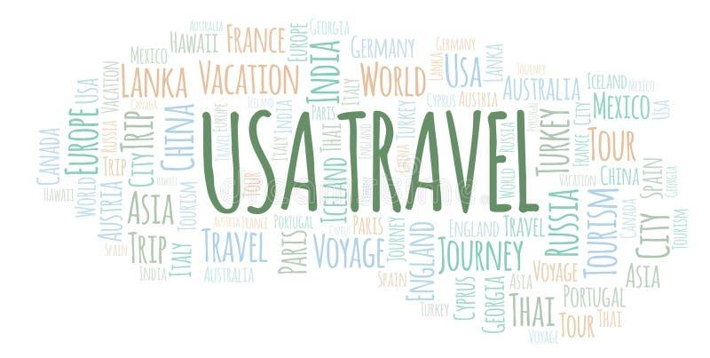 Σύννεφο λέξης αμερικανικού ταξιδιού απεικόνιση αποθεμάτων