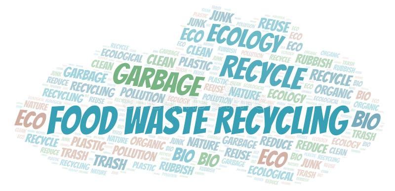 Σύννεφο λέξης ανακύκλωσης αποβλήτων τροφίμων απεικόνιση αποθεμάτων