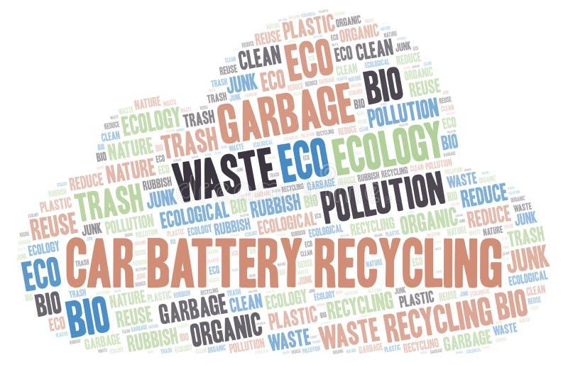 Σύννεφο λέξης ανακύκλωσης μπαταριών αυτοκινήτων ελεύθερη απεικόνιση δικαιώματος
