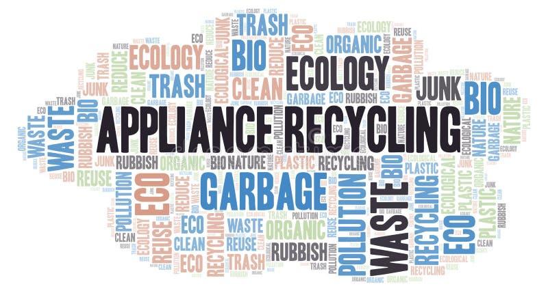 Σύννεφο λέξης ανακύκλωσης συσκευών απεικόνιση αποθεμάτων