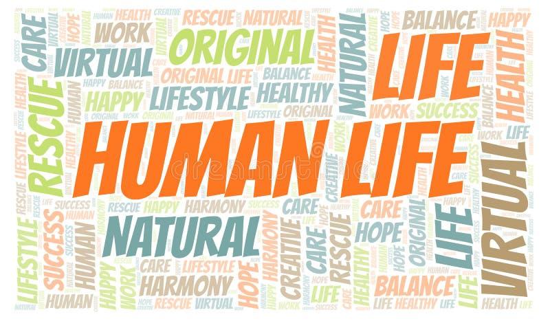 Σύννεφο λέξης ανθρώπινης ζωής διανυσματική απεικόνιση